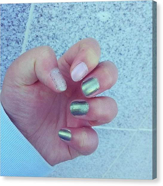 Metallic Canvas Print - #savvy #galaxy #nails #nailpolish #db by Crystal Chloe