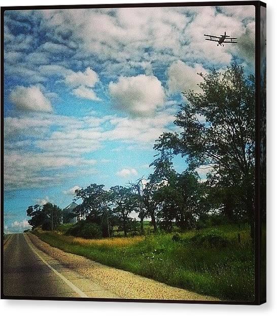 Biplane Canvas Print - Saw This Bi-plane Crop Dusting On My by Crystal LaTessa