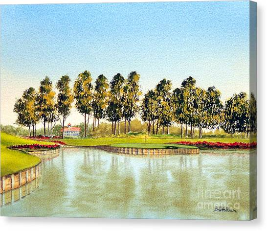 Tiger Woods Canvas Print - Sawgrass Tpc Golf Course 17th Hole by Bill Holkham