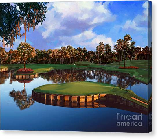 Courses Canvas Print - Sawgrass 17th Hole by Tim Gilliland