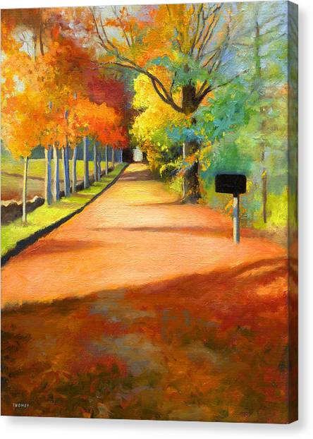 Sawmill Road Autumn Vermont Landscape Canvas Print