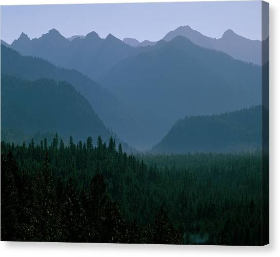 Sawtooth Mountains Silhouette Canvas Print
