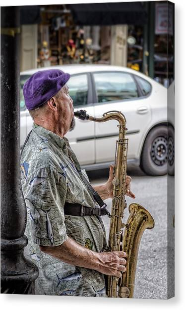 Sax In The Street Canvas Print