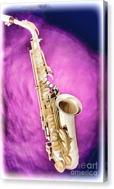 Saxophone Jazz Instrument Bell Painting In Color 3272.02 Canvas Print
