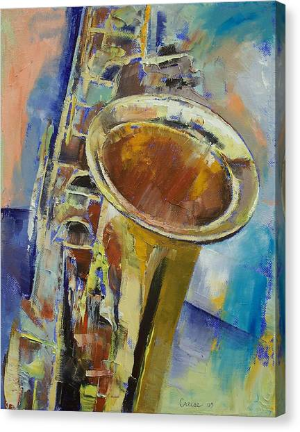 Saxophones Canvas Print - Saxophone by Michael Creese
