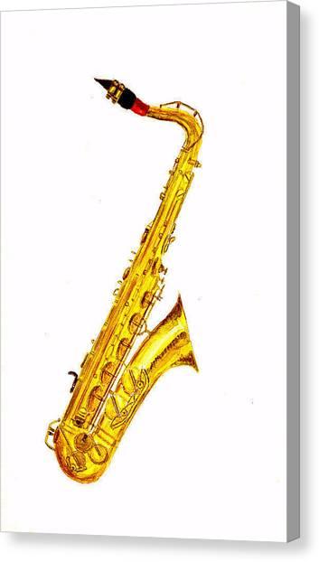 Saxophones Canvas Print - Saxophone by Michael Vigliotti