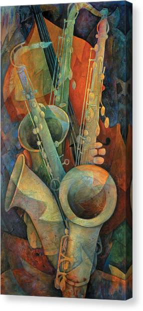 Cellos Canvas Print - Saxophones And Bass by Susanne Clark