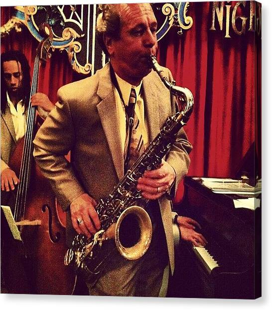 Saxophones Canvas Print - Saxophonist At Nighttown In Cleveland by Arnab Mukherjee