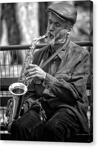 Saxophones Canvas Print - Saxophonist Nyc by Freya Doney