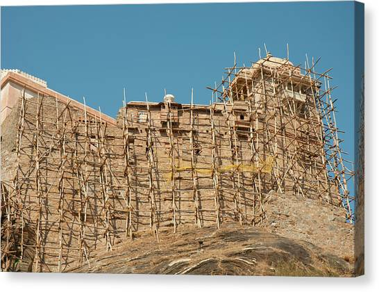 Fortification Canvas Print - Scaffolding Made Of Tree Branches by Inger Hogstrom