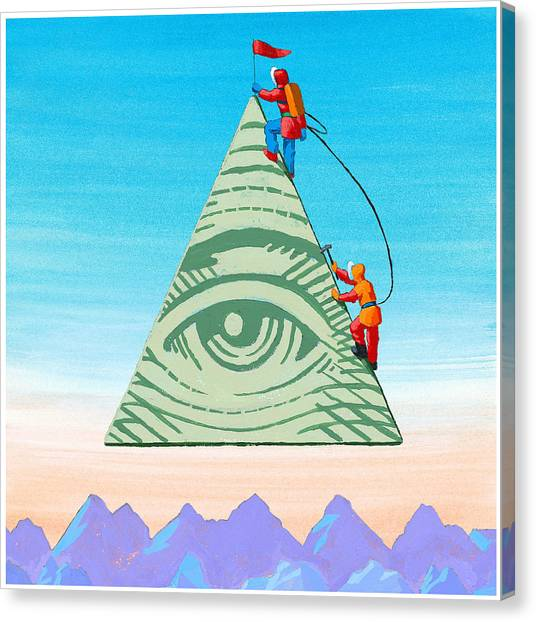 Scaling The Financial Pyramid Canvas Print by Jonathan Evans