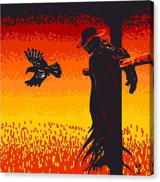 Scarecrows Canvas Print - #scare I Went With #jeeperscreepers by David Burles