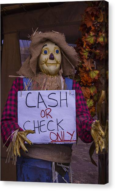 Scarecrows Canvas Print - Scarecrow Holding Sign by Garry Gay