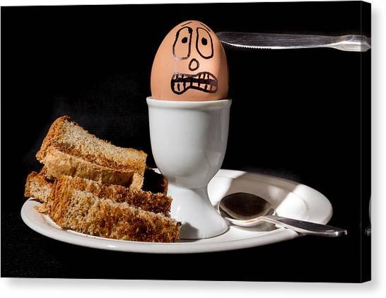 Canvas Print featuring the photograph Scared Egg by Gary Gillette