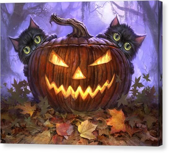 Pumpkin Canvas Print - Scaredy Cats by Jeff Haynie