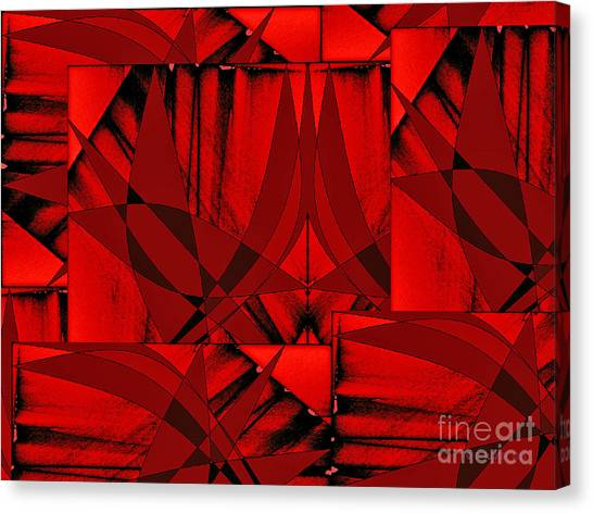 Canvas Print featuring the digital art Scarlet Geometry by Dee Flouton