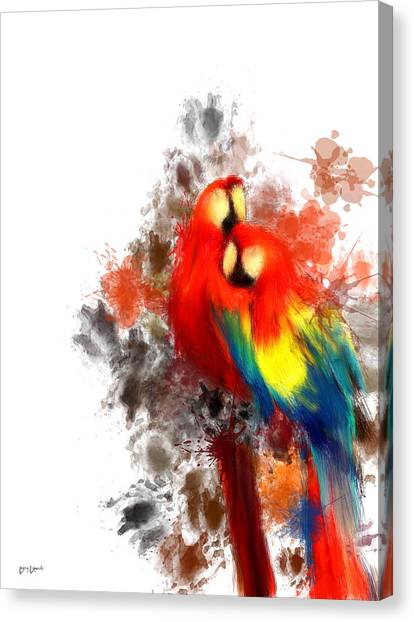 Parrots Canvas Print - Scarlet Macaw by Lourry Legarde