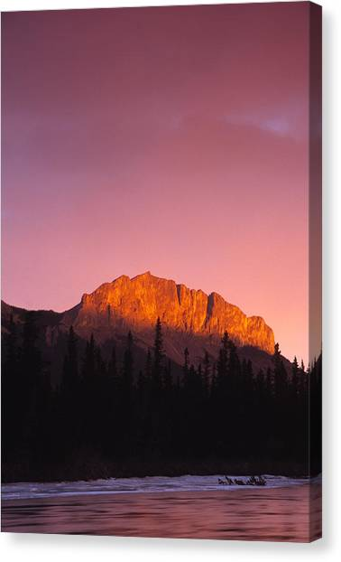 Scarlet Yamnuska And Bow River Canvas Print by Richard Berry
