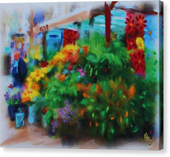 Canvas Print featuring the painting Scene From La Rambla by Deborah Boyd