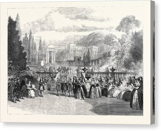 Garden Scene Canvas Print - Scene From The New Opera Loves Triumph At Covent Garden 1862 by English School