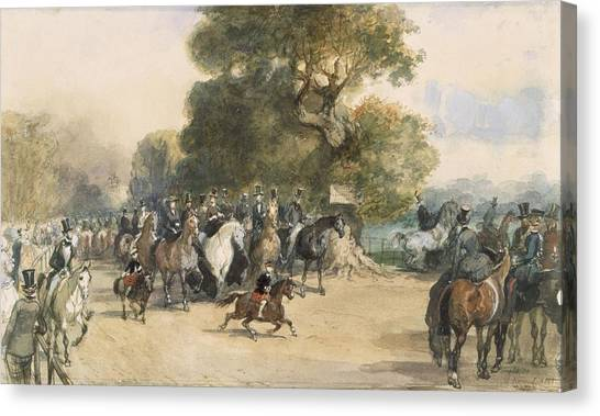 Hyde Park Canvas Print - Scene In Hyde Park by Eugene-Louis Lami