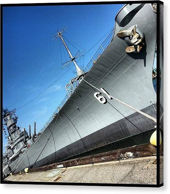 Battleship Canvas Print - Scenes From The Dock-- The Uss Iowa by Kevin Previtali