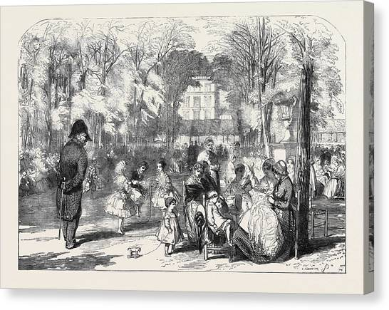 Garden Scene Canvas Print - Scenes In Paris The Gardens Of The Tuileries by English School