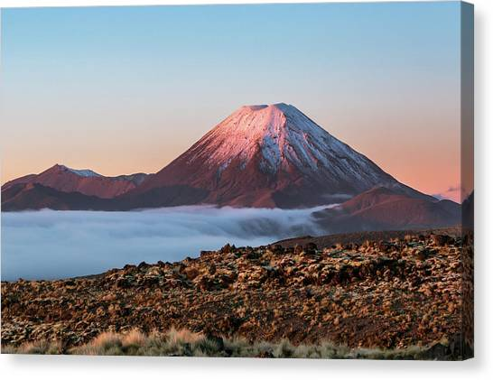 Scenic Landscape With Ngauruhoe Volcano Canvas Print by Matteo Colombo