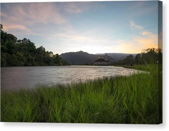 Scenic Shot Of Calm Lake Against Mountain Range Canvas Print by Shaifulzamri Masri / EyeEm