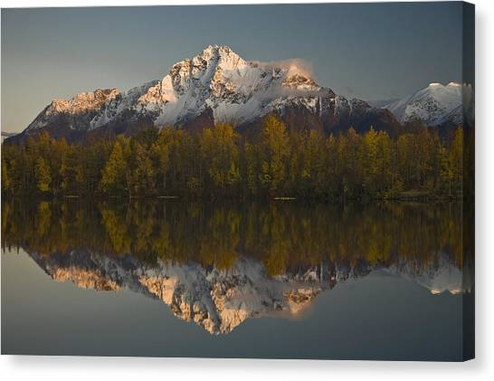 Echo Lake Canvas Print - Scenic View Of Pioneer Peak Reflecting by Hal Gage