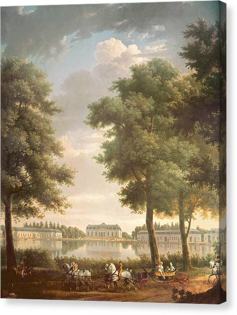Rococo Art Canvas Print - Schloss Benrath, 1806 Oil On Canvas by Antoine Charles Horace Vernet