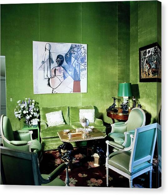 Pablo Picasso Canvas Print - Schlumberger's Green Salon by Horst P. Horst