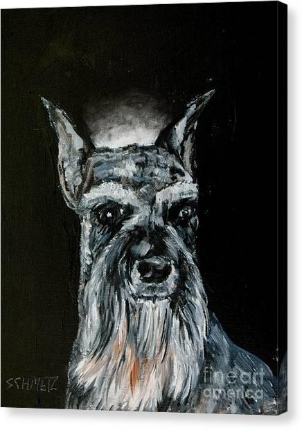Schnauzer Angel Canvas Print by Jay  Schmetz