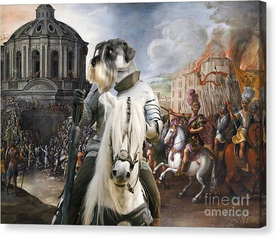 Schnauzers Canvas Print - Schnauzer Art - A Siege The Sack Of Rome   by Sandra Sij