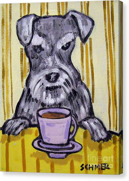 Schnauzer At The Coffee Shop Canvas Print by Jay  Schmetz
