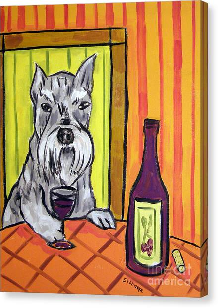 Schnauzer At The Wine Bar Canvas Print by Jay  Schmetz