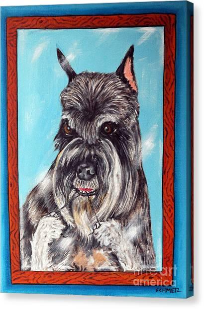 Schnauzer Flossing Canvas Print by Jay  Schmetz