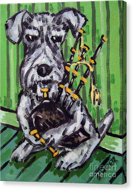 Schnauzer Playing Bagpipes Canvas Print by Jay  Schmetz