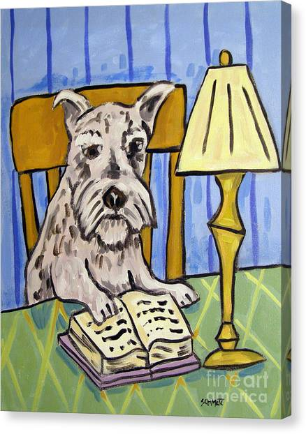 Schnauzer Reading A Book Canvas Print by Jay  Schmetz