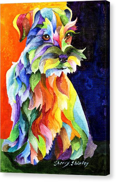 Schnauzers Canvas Print - Schnauzer Too by Sherry Shipley