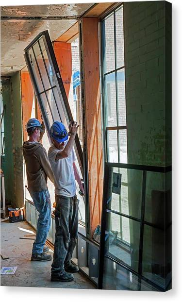 Hard Hat Canvas Print - School Building Renovation by Jim West