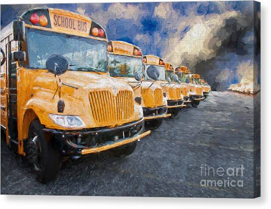 School Bus Lot Painterly Canvas Print