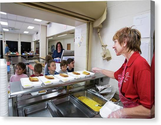 Elementary School Canvas Print - School Cafeteria by Jim West