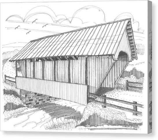 School House Covered Bridge Canvas Print