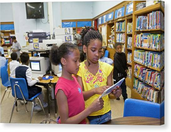 Elementary School Canvas Print - School Library by Jim West