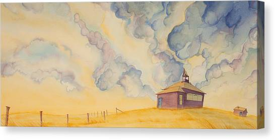 Canvas Print featuring the painting School On The Hill by Scott Kirby