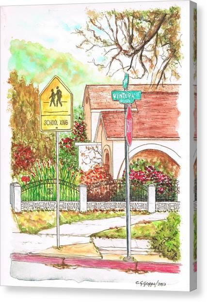 School Xing Sign In Santa Paula, California Canvas Print