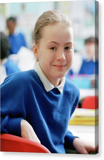 Classroom Canvas Print - Schoolgirl by Martin Riedl/science Photo Library