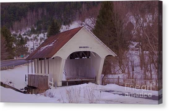 Schoolhouse Covered Bridge. Canvas Print