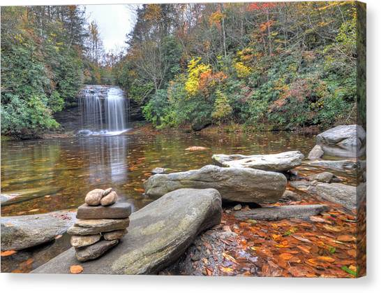 Schoolhouse Falls In Panthertown Valley Canvas Print by Mary Anne Baker